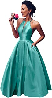 Jonlyc Women's A Line Halter Sleeveless Satin Long Prom Evening Dress with Pockets