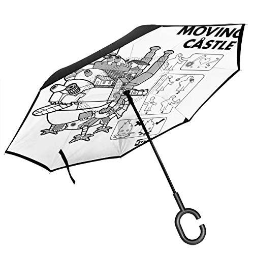 Studio Ghibli IKEA Howls Regenschirm mit beweglichem Schloss doppelschichtig, umgekehrt, zusammenklappbar, mit C-förmigen Händen – leicht und Winddicht