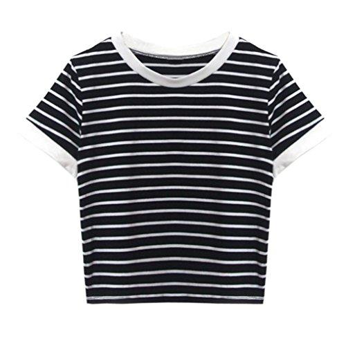 Homebaby T Shirt Donna Vintage -Strisce Maglietta Donna Manica Corta Elegante - Gilet Tumblr Estiva Particolari Magliette Corte Ragazza Tumblr T-Shirt Donna (S, Nero)