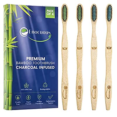 Enocuous Premium Biodegradable Bamboo Toothbrushes, Charcoal Infused, 100% BPA Free, Vegan friendly, Eco-Friendly, Cruelty-Free, Compostable, Bamboo (Medium Bristle)
