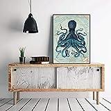 Kraken Octopus Tentacles Vintage Poster druckt nautische