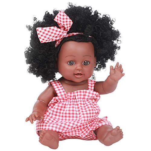 Fossen Afrikanische Puppe,Schwarze Puppen Mode Mädchenpuppen Spielen Puppe 14 Zoll African American für Kinder Spielzeug (Rot, 13.8 inch)