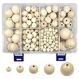 TOAOB 213 Stück Natürliche Runde Holzperlen Set 10 bis 30mm Gemischte Größe Zwischenperlen mit Box für DIY Schmuck Herstellung