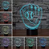 3D Optical Illusion LED Desk Lamp, 7 Color Changing with USB Cable Touch Button Night Light - Best Gift for Kids/Friends/Birthdays/Home Bedroom Decor Lighting (Baseball Glove)