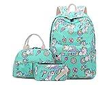 Juego de mochila para niñas con diseño de unicornio, 3 piezas