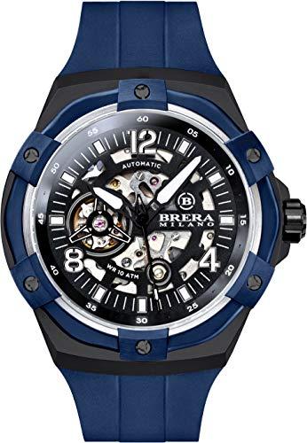 Brera Milano Reloj de hombre Superdeportivo Evo de 45 mm, con caja de acero negra, esfera negra y bisel azul, correa de goma natural azul, deployant negra, Ref. Bmssas4503f