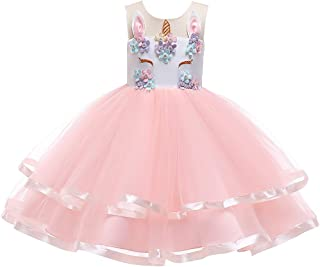Girls Unicorn Princess Dress Up Floral Embroidery Tutu Dance Ball Gown for Baby Kids Birthday Party Costumes