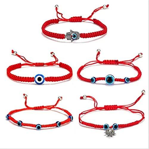 5pcs encanto de la pulsera de Hamsa del mal de ojo, trenza de la cuerda roja de la suerte de la cuenta azul, pulsera ajustable de moda (5 piezas)