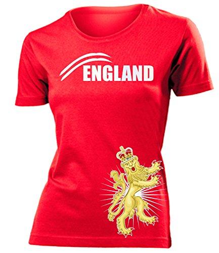 England Fan t Shirt Artikel 6056 Fuss Ball Welt Europa Meisterschaft EM 2020 WM 2022 Team Trikot Look Flagge Fahne Frauen Damen Mädchen World Cup M