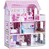 Costzon Dollhouse, Toy Family House with 13 pcs Furniture, Play Accessories, Cottage Uptown Doll House, Dreamdoll House Playset for Girls (Three Levels)