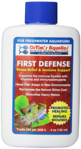 Dr. Tim's Aquatics Freshwater First Defense Fish Stress Relief and Immune Support – for Fish Tanks, Aquariums – Revitalizes Natural Slime Coat – Detoxifies Heavy Metals, Repairs Wounds – 240 Gallons