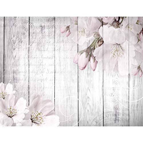 Fototapete Blumen Grau 396 x 280 cm Vlies Wand Tapete Wohnzimmer Schlafzimmer Büro Flur Dekoration Wandbilder XXL Moderne Wanddeko Flower 100% MADE IN GERMANY - Runa Tapeten 9118012b