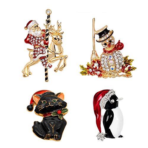 Awyuan - Set di 4 spille natalizie da donna, motivo: pupazzo di neve, Babbo Natale, Jingle Bells e gatto, accessori natalizi