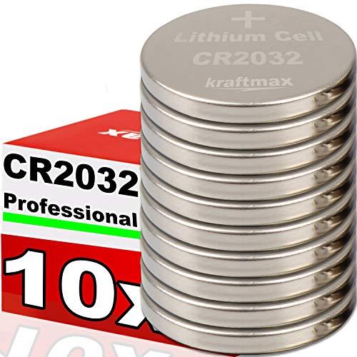 kraftmax 10er Pack CR2032 Lithium Hochleistungs- Batterie / 3V Knopfzelle für professionelle Anwendungen - Neuste Generation