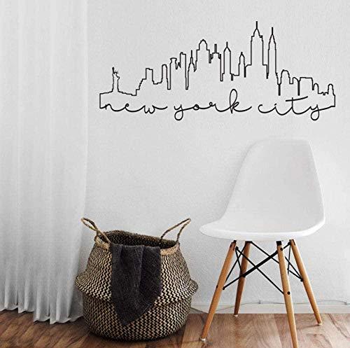 Wandaufkleber York City Umriss Skyline Wandaufkleber Vinyl Wohnkultur Wohnzimmer Aufkleber Abnehmbare Inneneinrichtung Tapete Wandbild 57X24Cm