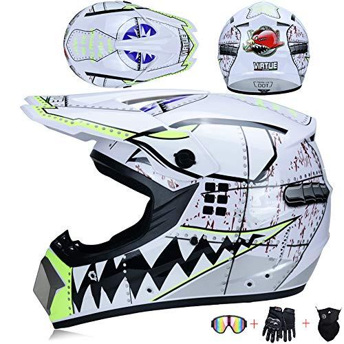 JCLDG Motorradhelm, Motorrad Crosshelm, Motocross Helm mit Brille Maske Handschuhe, Fullface MTB Helm Kinder Cross Helm Mopedhelm Fahrrad Enduro Downhill BMX Off Road ATV für Herren Damen,S