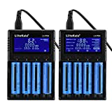 Cargador de batería Universal Liitokala LII-PD4 Cargador Inteligente rápido para baterías Recargables Batería de 4 Ranuras Pantalla LCD Trasera 110-240V(EU)