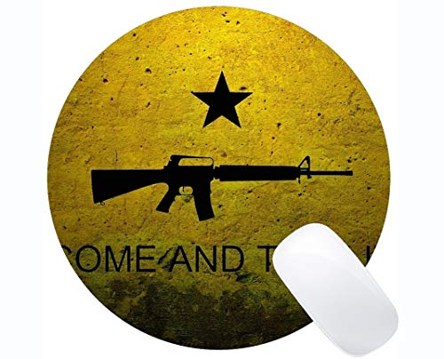Gaming Round Mouse Pad Custom,Assault Rifle Round Mouse Pad with Stitched Edge