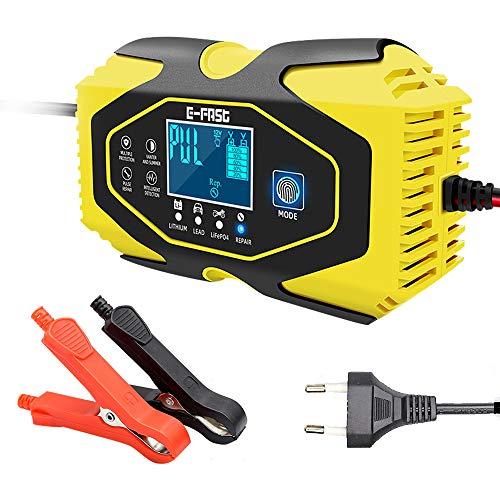 3T6B Carica batterie per Litio/Acido al Piombo/LiFePO4 Auto Moto Ricarica sicura 7 Livelli, 6A12V/24V riparatore di Caricabatterie Automatico Intelligente con Display LCD