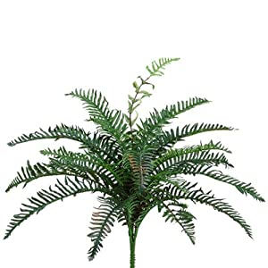 24″ Small River Fern Bush x4 w/27 Leaves Green (Pack of 12)
