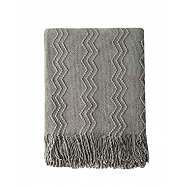 Bourina Throw Blanket Textured Solid Soft Sofa Couch Cover Decorative Knitted Blanket, 50  x 60 , Dark Grey