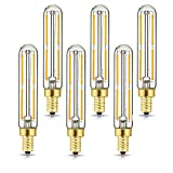 HXMLS E12 Led Bulb 4W,Dimmable Candelabra Led Light Bulbs 4W Equal 40 watt Light Bulb Warm White 2700k 400LM Candelabra Led Filament Tubular Tube Light Bulbs T6 for Chandeliers,Fixture 6Pack