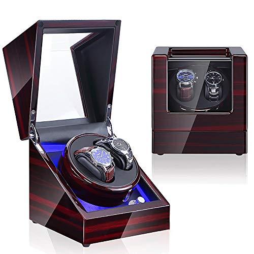 ZXZXZX Cajas Giratorias para 2 Relojes automatico con Motor Silencioso y 12 Modos de Rotación Watch Winder Madera de Reloj de Pulsera Caja de Almacenamiento de Rotación de Relojes