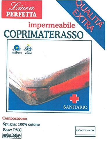 Euroricami Viterbo Coprimaterasso con Cerata Impermeabile Matrimoniale Traversa 2 Piazze con Angoli 165 x 195 cm