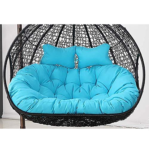 Cuscini per sedia a cestello sospeso,cuscini per sedia a dondolo da appendere, doppio cuscino impermeabile per sedia a dondolo, spesso sfoderabile, 110 x 150 cm, colore: blu cielo