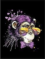【お洒落なチンパンジー】 余白部分にオリジナルメッセージお入れします!ポストカード・はがき(黒背景)