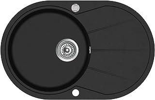vidaXL Granitspüle Einzelbecken Oval Schwarz Küchenspüle Spüle Einbauspüle