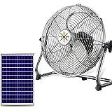 GMRZ Ventilador Solar Silencioso De 15', Motor DC Sin Escobillas Ventilador 12 Velocidad Fan De Metal Portátil para Acampar Al Aire Libre En El Hogar Huracán, con Panel Solar,Plata