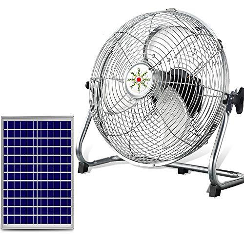 """GMRZ Ventilador Solar Silencioso De 15"""", Motor DC Sin Escobillas Ventilador 12 Velocidad Fan De Metal Portátil para Acampar Al Aire Libre En El Hogar Huracán, con Panel Solar,Plata"""