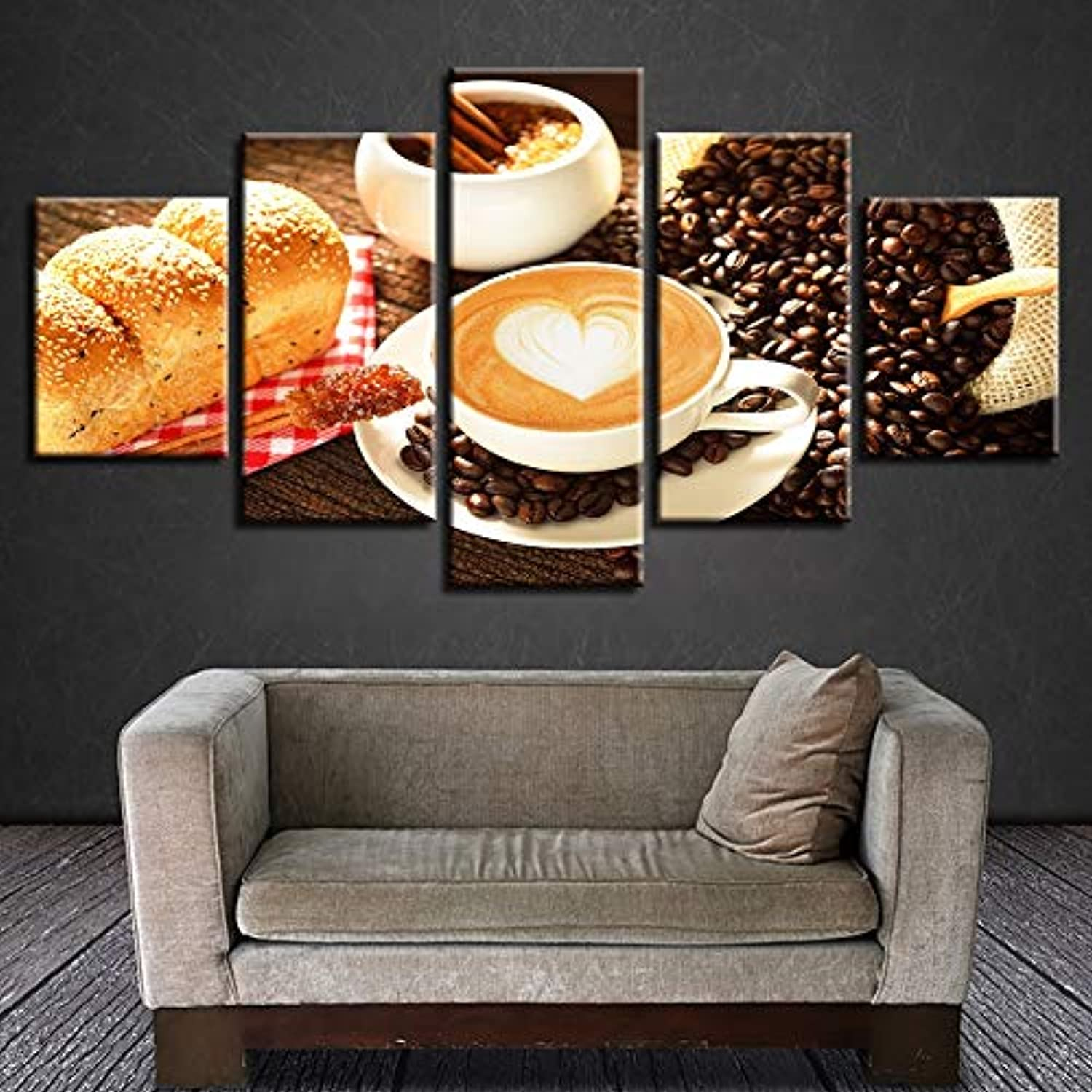 Wall Art Poster Modern Home Decor Living Room 5 Panel Coffee Bread Bedroom Canvas Print Painting Modular Picture Frame