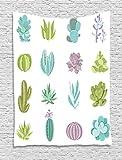 ABAKUHAUS Exótico Tapiz de Pared, Las Plantas del Desierto Tropicales, para el Dormitorio Apto Lavadora y Secadora Estampado Digital, 100 x 150 cm, Pistacho Verde Turquesa Lila