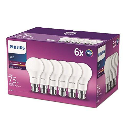 Philips Lighting Lampadina LED Goccia, 6 Pezzi, Equivalente a 75W, Attacco B22, Luce Bianca Calda, non Dimmerabile