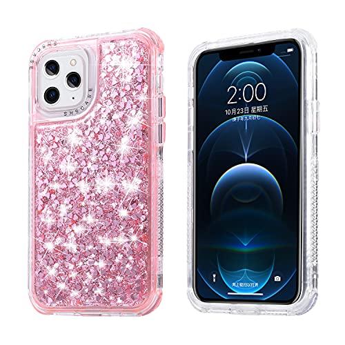 Nadoli Compatible avec iPhone 11 Pro Max 6.5' Paillettes Étui,3 in 1 Bling Glitter Silicone TPU + PC Hybride Antichoc éclat Coque Housse de Protection pour Femmes Filles,Rose