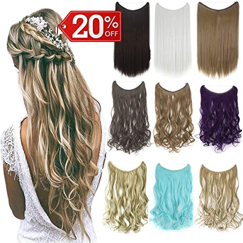 FIRSTLIKE Invisible Secret Wire Miracle Hair Extensions Fish Line Headband Hairpiece Wavy Curly Synthetic Hairpiece