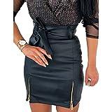Xiaoqiao Womens Bow Leather Skirt, Bodycon Mini High Waist Sexy Casual Double Zip PU Slim...