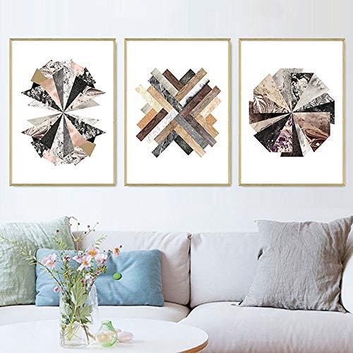 GJHT Poster & Drucke Wohnzimmer Schlafzimmer Wanddekor Moderne abstrakte Geometrie Wand Kunstwerke Bilder Für Kinderzimmerdekor (Color : 3 Panels, Size : 70x90cm)