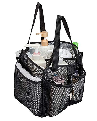 ALYER Mesh Shower Caddy Basket,Large Shower Bag Tote,Hanging Bath Toiletry Organizer with 1 Big Separated Inner Compartment and 6 Deep Outer Pockets (Black)