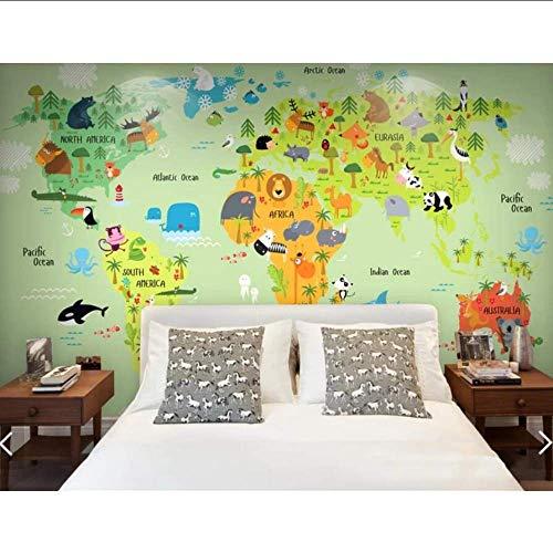 Cczxfcc Wereldkaart met behang met dierenprint met behang bedrukt met 3D-fotodruk, gepersonaliseerd voor de kamer van school of kleuterschool 350cmx245cm