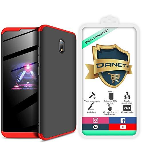 Kit Danet Capa Capinha Anti Impacto 360 Full Para Xiaomi Redmi 8a Com Tela 6.22Polegadas - Case Acrílica Fosca Com Película De Vidro Temperado (Preto com vermelho)