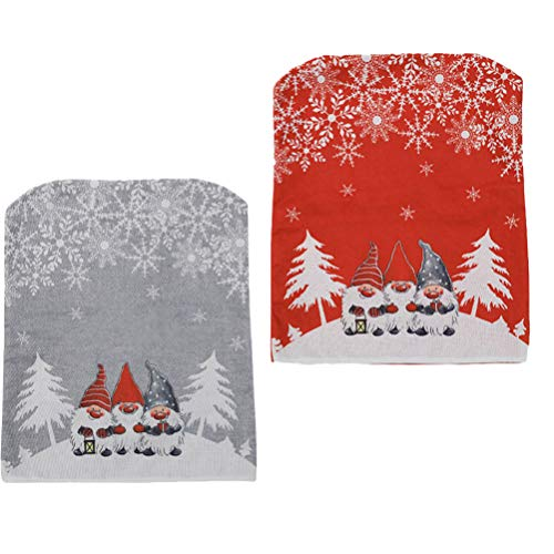 Wakauto 2Pcs Fundas Traseras para Sillas de Navidad Fundas para Sillas de Navidad Set Rojo Gris Gnomo de Dibujos Animados Impreso Funda de Silla para La Decoración de La Mesa de Comedor