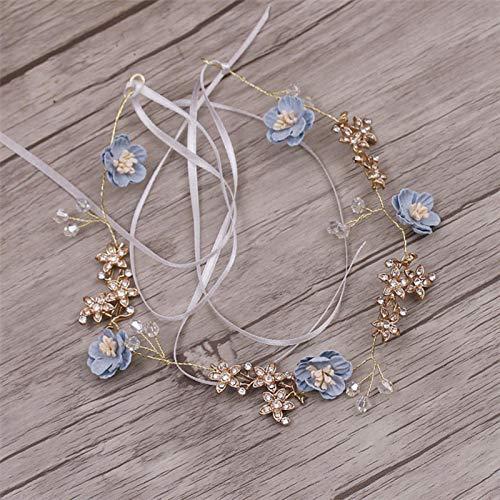 GoodLuck Preciosa Flor Azul Rosa joyería de Hilo Hecho a Mano Flexible...