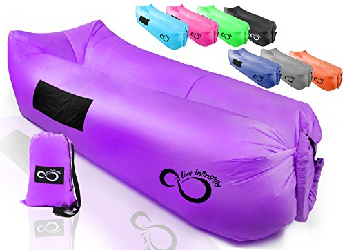 Live Infinitely Inflatable Air Lounger Chair Features Headrest, 2 Pockets, 700 Gauge Inner Liner, 420D Ripstop Exterior & Travel Bag Use On Beach Or In The Pool 9' Long & Holds 500 (Vibrant Purple)