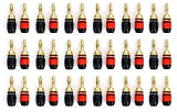 Aurum Pro Series 24k Gold Plated Connector Banana Plugs - 36 Pack (18 Red, 18 Black)