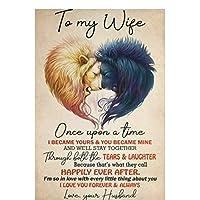 私の妻ライオンに私は永遠にあなたを愛し、常にポスタープリントアートワークギフト装飾壁アートキャンバス絵画リビングルームの装飾-50x75CMフレームなし