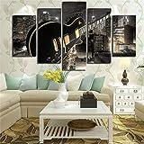 Cuadros Impresos para decoración de Sala de Estar, 5 Piezas de Guitarra y Edificios de la Ciudad, póster con Vista Nocturna, Arte de Pared, Pinturas en Lienzo modulares