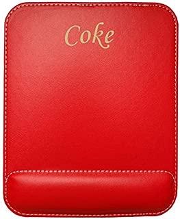 Almohadilla de cuero sintético de ratón personalizado con el texto: Coke (nombre de pila/apellido/apodo)